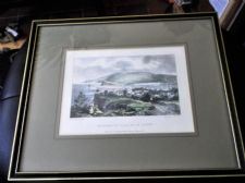 ANTIQUE TINTED GLAZED PRINT TEIGNMOUTH FROM EAST CLIFFS L E REED W DAY CRODON